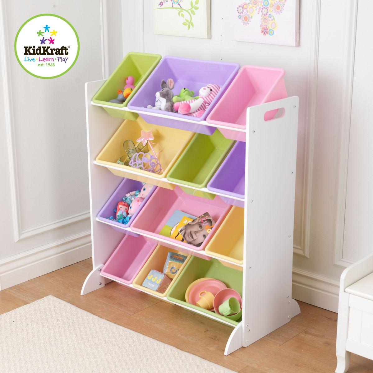 Kidkraft meuble avec bacs de rangement pastel 15450 for Meuble de rangement jouet